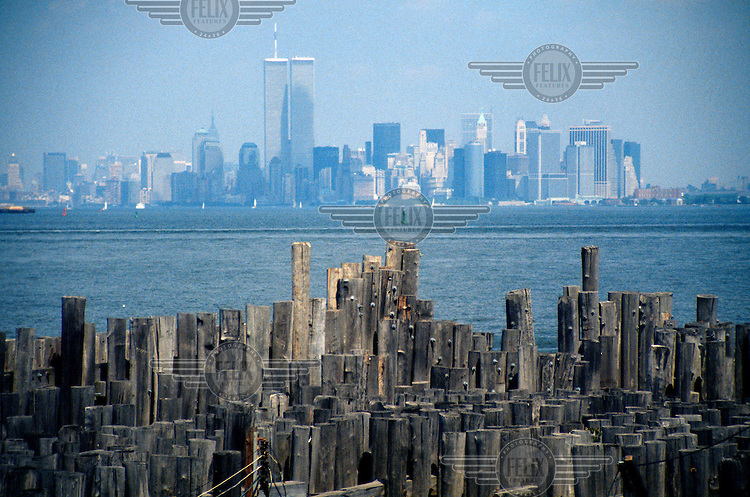 A view from Staten Island towards Manhatten, New York City, with the World Trade Centre towers in the bakground.