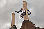LONDON ENGLAND. 13/08/2010. Mike Mason (USA) in action during a training session for the London stage of The Red Bull X-Fighters freestlye Motorcycle Cross Tournament held at Battersea Power Station, Battersea, London, England:  Foto: nph /  Mitchell Gunn