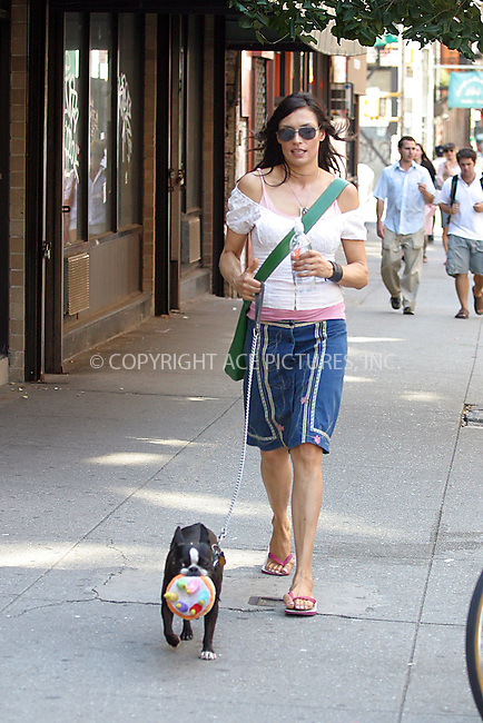 WWW.ACEPIXS.COM . . . . . ..NEW YORK, SEPTEMBER 2, 2004: Perhaps Famke Janssen celebratest her dog's birthday by giving her dog a fabric birthday cake. ..Please byline: BRIAN FLANNERY - ACE PICTURES.. . . . . . ..Ace Pictures, Inc:  ..Alecsey Boldeskul (646) 267-6913 ..Philip Vaughan (646) 769-0430..e-mail: info@acepixs.com..web: http://www.acepixs.com