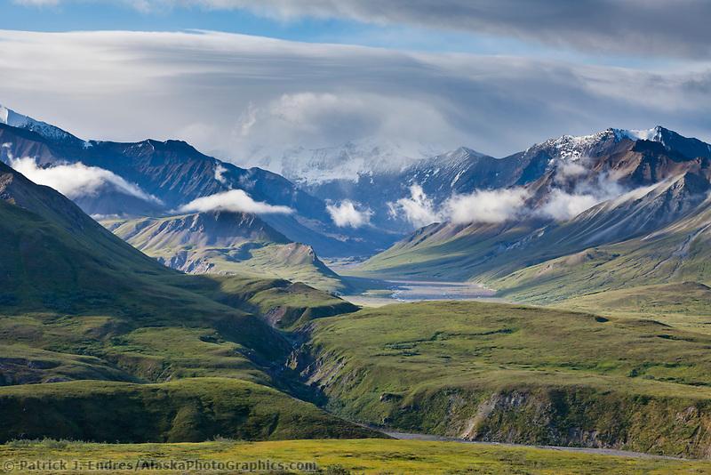 Clouds over the Alaska Range mountains, Gorge Creek, Denali National Park, Interior, Alaska.