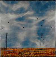 Mixed media encaustic photo painting of crows and powerlines against blue sky.