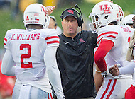 Annapolis, MD - OCT 8, 2016: Houston Cougars head coach Tom Herman talks to his players during a timeout during game between Houston and Navy at Navy-Marine Corps Memorial Stadium Annapolis, MD.The Midshipmen upset #6 Houston 46-40. (Photo by Phil Peters/Media Images International)