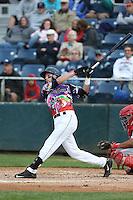 Conner Hale (39) of the Everett AquaSox bats during a game against the Spokane Indians at Everett Memorial Stadium on July 25, 2015 in Everett, Washington. Spokane defeated Everett, 10-1. (Larry Goren/Four Seam Images)