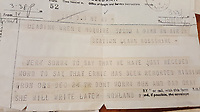 BNPS.co.uk (01202 558833)<br /> Pic: BeechAuctions/BNPS<br /> <br /> Tragic telegram from McGuires family to his sister, who was also serving as a WREN in Scotland.<br /> <br /> Sold for £700, after being rescued from a waste bin - the tragic tale of a doomed Lancaster crew - shot down on its last mission over Germany, on Christmas Eve 1944, the pilots 21st birthday...<br /> <br /> The poignant archive belonged to the family of Flt Sgt Ernest McGuire, wireless operator on the doomed Lancaster Bomber ND388 that set off on Christmas eve 1944.<br /> <br /> The aircraft was due to fly to it's 30th and final operation in Cologne from RAF Grimsby but never made it to its destination.