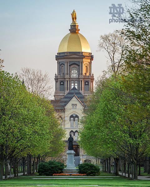 Apr. 24, 2016; Main Building in Spring (Photo by Matt Cashore/University of Notre Dame)