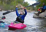 May 30, 2016 - Buena Vista, Colorado, U.S. -  Women's freestyle kayaker, Brooke Hess, celebrates her victory in the Women's Freestyle Kayak competition during the CKS Paddlefest, one of the Rocky Mountain Region's first adventure events of the summer in Buena Vista, Colorado.