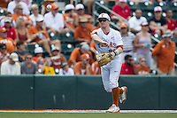 Texas Longhorns third baseman Zane Gurwitz (50) makes a throw to first base during the NCAA Super Regional baseball game against the Houston Cougars on June 7, 2014 at UFCU Disch–Falk Field in Austin, Texas. The Longhorns are headed to the College World Series after they defeated the Cougars 4-0 in Game 2 of the NCAA Super Regional. (Andrew Woolley/Four Seam Images)