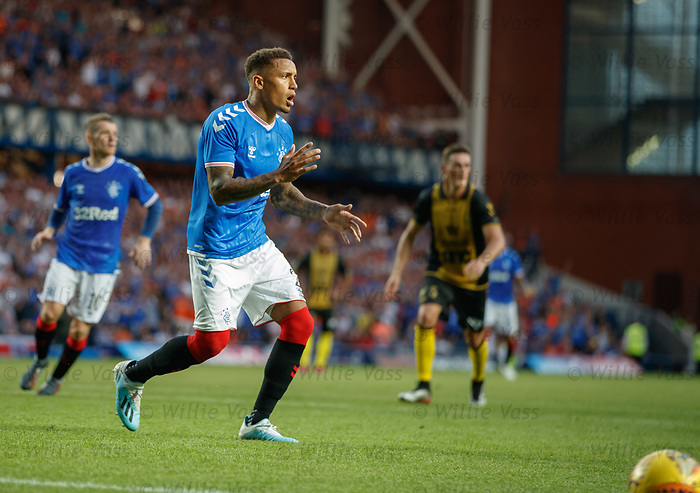 25.07.2019 Rangers v Progres Niederkorn: James Tavernier reacts as he fails to convert his penalty kick