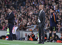 5/05/2012. Barcelona, Spain. La Liga. Picture show Mauricio Pochettino (L) and Pep Guardiola (R) in action during match FC Barcelona against RCD ESpanyol at Campo Nou
