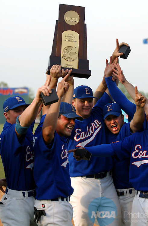 28 MAY 2002:  Eastern Connecticut State University celebrates their victory over Marietta College during the Division 3 Men's Baseball Championship held at Fox Cities Stadium in Grand Chute, WI.  ECSU defeated Marietta 8-0 for the national title.  Allen  Fredrickson/NCAA Photos