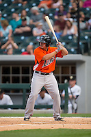 Steve Clevenger (45) of the Norfolk Tides at bat against the Charlotte Knights at BB&T BallPark on April 9, 2015 in Charlotte, North Carolina.  The Knights defeated the Tides 6-3.   (Brian Westerholt/Four Seam Images)