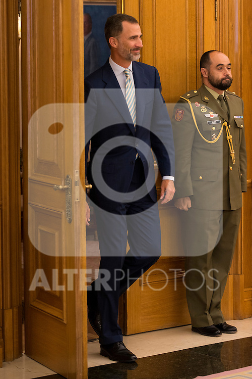King Felipe VI of Spain during Royal Audience with the President of the Government of Andalucia, Susana Diaz at Zarzuela Palace in Madrid, Spain. July 09, 2015.<br />  (ALTERPHOTOS/BorjaB.Hojas)