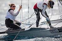 20140401, Palma de Mallorca, Spain: SOFIA TROPHY 2014 - 850 sailors from 50 countries compete at the ISAF Sailing World Cup event. 49erFX - USA121 - Genny Tulloch / Kathleen Tocke. Photo: Mick Anderson/SAILINGPIX.