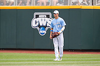 North Carolina Tar Heels outfielder Skye Bolt #20 looks on during Game 3 of the 2013 Men's College World Series between the North Carolina State Wolfpack and North Carolina Tar Heels at TD Ameritrade Park on June 16, 2013 in Omaha, Nebraska. The Wolfpack defeated the Tar Heels 8-1. (Brace Hemmelgarn/Four Seam Images)