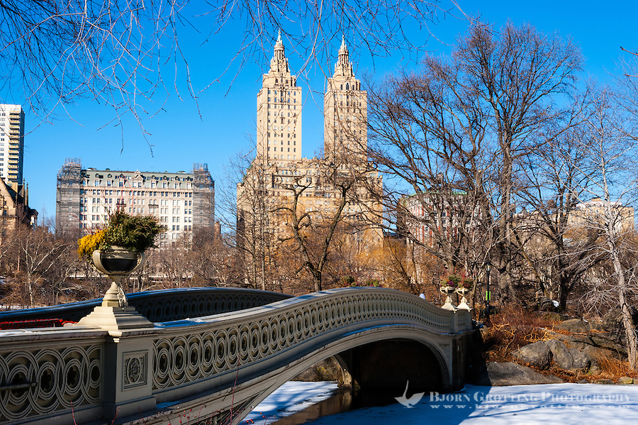 US, New York City, Central Park. Bow Bridge. The Ramble and Lake.
