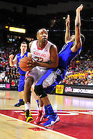 Dez Wells of the Terrapins is called for an offensive foul. Maryland defeated Duke 81-83 at the Comcast Center in College Park, MD on Saturday, February 16, 2013. Alan P. Santos/DC Sports Box