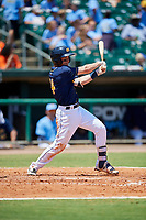 Montgomery Biscuits left fielder Nick Solak (14) follows through on a swing during a game against the Biloxi Shuckers on May 8, 2018 at Montgomery Riverwalk Stadium in Montgomery, Alabama.  Montgomery defeated Biloxi 10-5.  (Mike Janes/Four Seam Images)