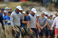 Tiger Woods (USA) and Justin Thomas (USA) on the 4th during the Second Round - Foursomes of the Presidents Cup 2019, Royal Melbourne Golf Club, Melbourne, Victoria, Australia. 13/12/2019.<br /> Picture Thos Caffrey / Golffile.ie<br /> <br /> All photo usage must carry mandatory copyright credit (© Golffile | Thos Caffrey)