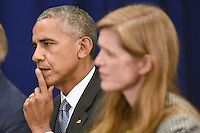 (L-R) United States President Barack Obama and Samantha Power, United States Ambassador to the United Nations, attend a bilateral meeting with Prime Minister Haider al-Abadi of Iraq at the Lotte New York Palace Hotel in New York, NY, on September 19, 2016. <br /> Credit: Anthony Behar / Pool via CNP /MediaPunch