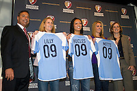 Boston Breakers head coach Tony DiCicco with allocations Kristine Lilly, Angela Hucles, Heather Mitts and commissioner Tonya Antonucci. The Women's Professional Soccer (WPS) US National Team Allocation Announcement at the Sports Museum of America in New York, NY, on September 16, 2008.