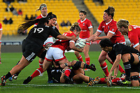 Elissa Alarie is stopped during the 2017 International Women's Rugby Series rugby match between the NZ Black Ferns and Canada at Westpac Stadium in Wellington, New Zealand on Friday, 9 June 2017. Photo: Dave Lintott / lintottphoto.co.nz