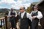 getting ready before Julie and Adam's wedding at Marys Lake Lodge in Estes Park, Colorado