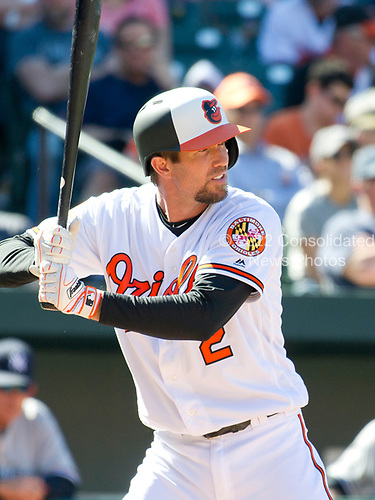 Baltimore Orioles shortstop J.J. Hardy (2) bats in the bottom of the sixth inning against the New York Yankees at Oriole Park at Camden Yards in Baltimore, MD on Sunday, April 9, 2017.  The Yankees won the game 7 - 3. <br /> Credit: Ron Sachs / CNP<br /> (RESTRICTION: NO New York or New Jersey Newspapers or newspapers within a 75 mile radius of New York City)