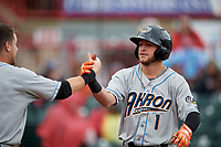 Akron RubberDucks Alexis Pantoja (1) is congratulated by Ernie Clement (left) after hitting a home run during an Eastern League game against the Erie SeaWolves on June 2, 2019 at UPMC Park in Erie, Pennsylvania.  Akron defeated Erie 7-2 in the first game of a doubleheader.  (Mike Janes/Four Seam Images)