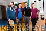 Pobalscoil Corcha Dhuibhne (Dingle) students Mark Aghas, Brian Ó Conchúir, Padraig Ó hÓgain and Ruadhan Mac Carthaigh receiving their Leaving Certificate results on Wednesday morning.