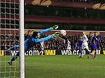 Tottenham's Roberto Soldado sees his shot saved by Fiorentina's Ciprian Tatarusanu<br /> <br /> Europa League - Tottenham Hotspur  vs Fiorentina  - White Hart Lane - England - 19th February 2015 - Picture David Klein/Sportimage