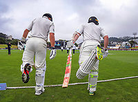 Ross Taylor and Kane Williamson walk out to bat during day four of the international cricket match between NZ Black Caps and Bangladesh at the Basin Reserve in Wellington, New Zealand on Monday, 11 March 2019. Photo: Dave Lintott / lintottphoto.co.nz