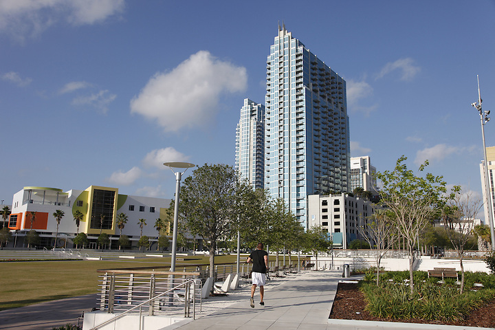 MARCH 25, 2011: Tampa's riverfront Curtis Hixon Park is a new center of activity in the city's revitalized downtown.