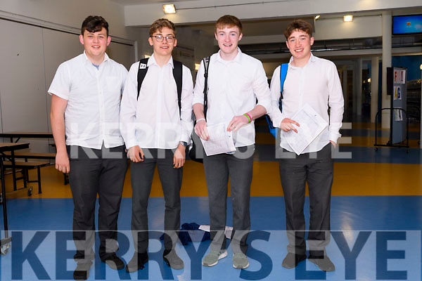 Pobalscoil Chorca Dhuibhne students Eoghan Moriarty, Luke O'Connell, Thomas Devane and Cathal Ferriter on day one of the Leaving Certificate.