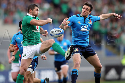 February 11th 2017, Rome, Italy; Edoardo Padovani and Rob Kearney in action during the  Six Nations tournament  RBS  match between Italy and Ireland at the Stadio Olimpico on February 11, 2017 in Rome, Italy.