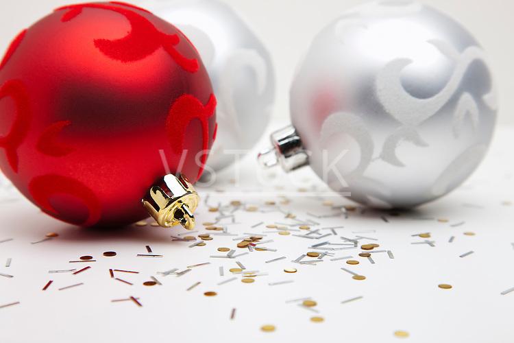 USA, Illinois, Metamora, Studio shot of Christmas ornaments