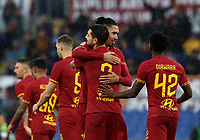 Football, Serie A: AS Roma - Brescia FC, Olympic stadium, Rome, November 24, 2019. <br /> Roma's Chris Smalling (l) celebrates after scoring with his teammate Lorenzo Pellegrini (r) during the Italian Serie A football match between Roma and Brescia at Olympic stadium in Rome, on November 24, 2019. <br /> UPDATE IMAGES PRESS/Isabella Bonotto
