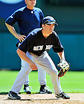 8 March 2011: New York Yankees' infielder Doug Bernier receives some infield instruction from Mick Kelleher prior to a Spring Training game against the Atlanta Braves at Champion Park in Orlando, Florida. The Yankees edged out the Braves 5-4 in Grapefruit League action. Mandatory Credit: Ed Wolfstein Photo