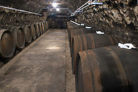 Oak barrel aging and fermentation cellar. Domaine Huet, Vouvray, Touraine, Loire, France