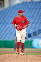 Clearwater Threshers starting pitcher Mauricio Llovera (26) gets ready to deliver a pitch during a game against the Florida Fire Frogs on June 1, 2018 at Spectrum Field in Clearwater, Florida.  Florida defeated Clearwater 12-10.  (Mike Janes/Four Seam Images)