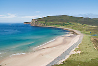 View of Rackwick bay from surrounding hill, Hoy, Orkney, Scotland