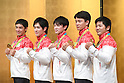 (L-R) Kenzo Shirai, Ryohei Kato, <br /> Kohei Uchimura, Yusuke Tanaka, <br /> Koji Yamamuro (JPN), <br /> AUGUST 20, 2016 - Artistic Gymnastics : <br /> Japanese gymnasts attend a media conference in Chiba, Japan. <br /> Japan won the gold medal <br /> at the Artistic Gymnastics men's team competition <br /> in the Rio 2016 Olympic Games. <br /> (Photo by AFLO SPORT)