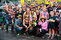 Aug 19, 2018; Brainerd, MN, USA; NHRA top fuel driver Billy Torrence celebrates with crew and fans after winning the Lucas Oil Nationals at Brainerd International Raceway. Mandatory Credit: Mark J. Rebilas-USA TODAY Sports
