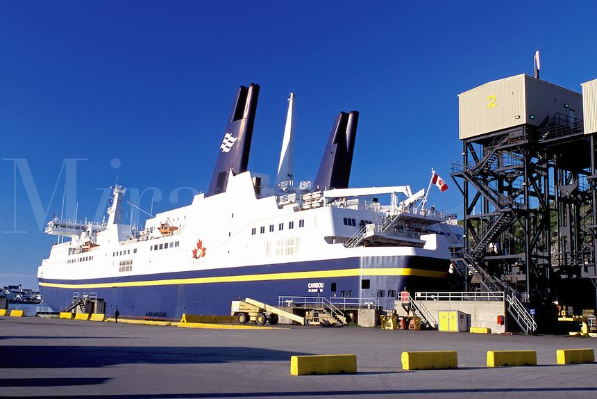 car ferry, Newfoundland, NF, Canada, Marine Atlantic Ferry from Nova Scotia docked at Channel-Port-au-Basques Ferry Terminal.