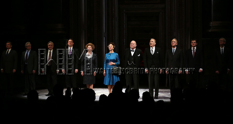 Helen Mirren with the cast take a bow during curtain call for the Broadway Opening night of 'The Audience' at the Gerald Schoenfeld Theatre on March 8, 2015 in New York City.