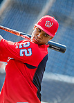 21 May 2018: Washington Nationals outfielder Juan Soto awaits his turn in the batting cage prior to making his first Major League start against the San Diego Padres at Nationals Park in Washington, DC. The 19 year-old Soto hit a 3-run home run on the first pitch he faced as the Nationals defeated the Padres 10-2, taking the first game of their 3-game series. Mandatory Credit: Ed Wolfstein Photo *** RAW (NEF) Image File Available ***