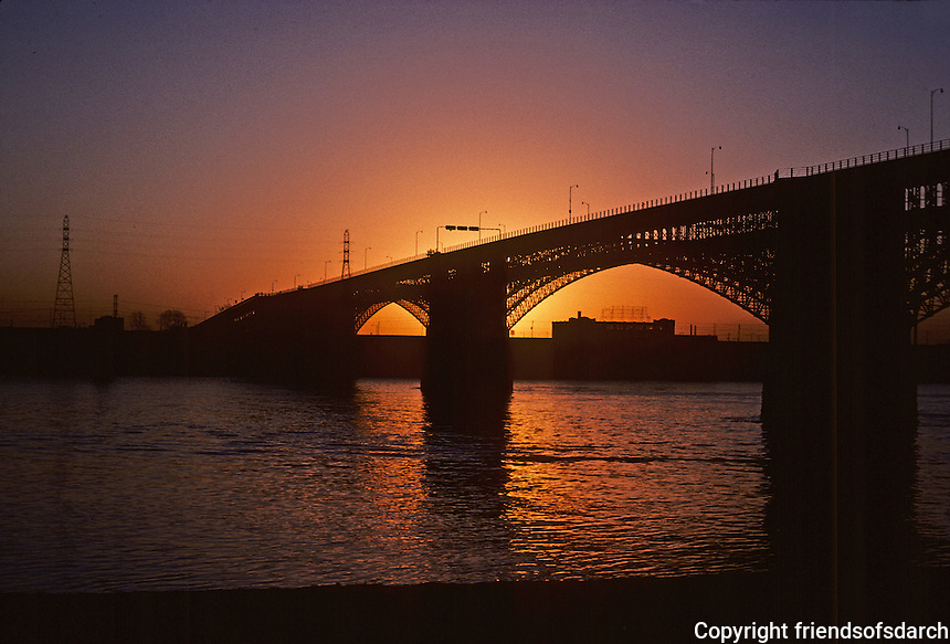 St. Louis: Eads Bridge--Early Morning, Silhouette.