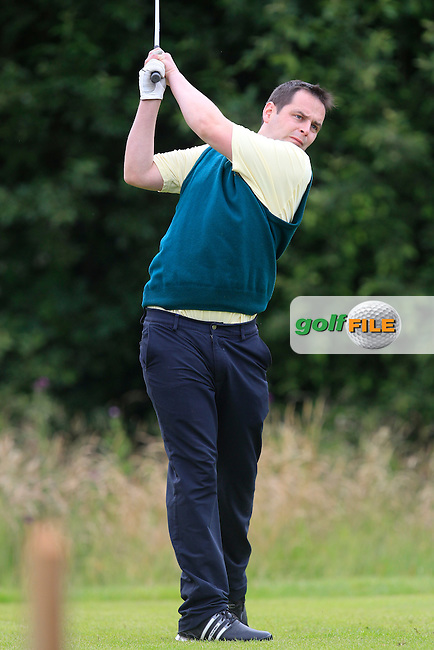 Ciaran Clohessy (Thurles) on the 14th tee during the Final round of the Munster section of the AIG Pierce Purcell Shield at East Clare Golf Club on Sunday 19th July 2015.<br /> Picture:  Golffile | Thos Caffrey