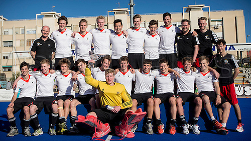 01.04.2013 Valencia, Spain. German players celebrate after wining the tournament during the awards ceremony of the Hockey 4 Nations U18 Men Easter Tournament Valencia 2013 Final game between Germany and Netherlands from the Campo de Hockey Valencia