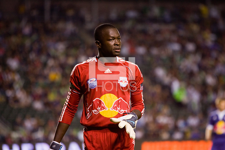 New York Red Bulls goalkeeper Bouna Coundoul looking for the ball. The New York Red Bulls beat the LA Galaxy 2-0 at Home Depot Center stadium in Carson, California on Friday September 24, 2010.
