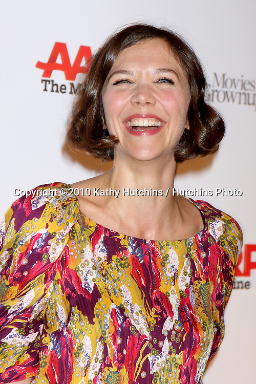 Maggie Gyllenhaal.arriving at the Ninth Annual AARP the Magazine`s Movies for Grownups Awards Gala .Beverly Wilshire Hotel.Beverly Hills, CA.February 16, 2010.©2010 Kathy Hutchins / Hutchins Photo....